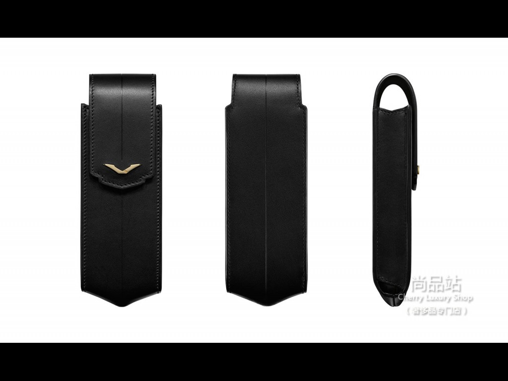 Vertu 黑色皮革直式手机套饰以黄金细节