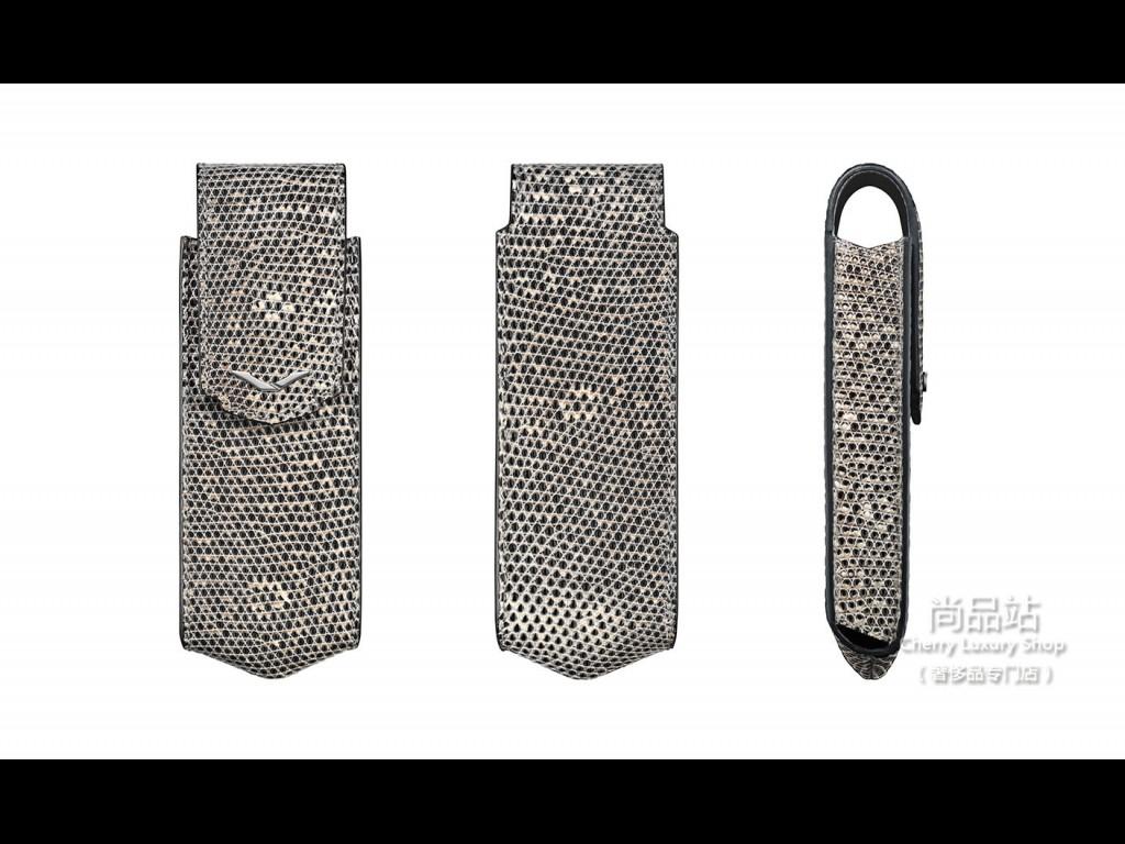Vertu 天然蜥蜴皮直式手机套饰以不锈钢细节