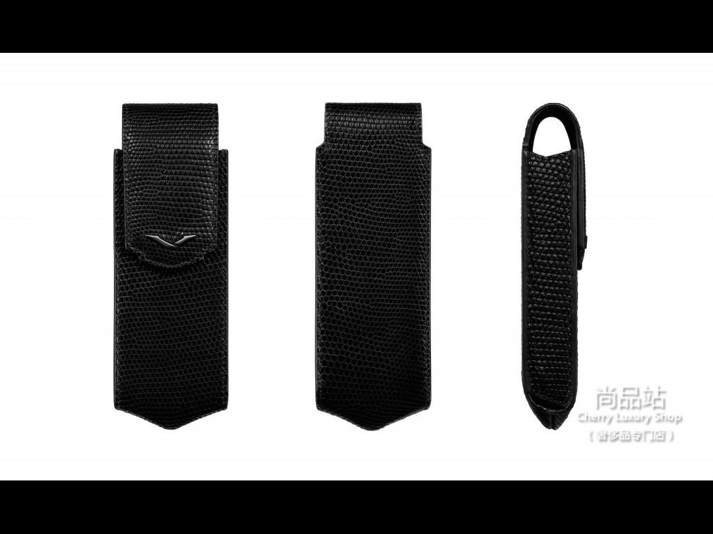 Vertu 饰以黑色 PVD 细节的黑色蜥蜴皮直式手机套